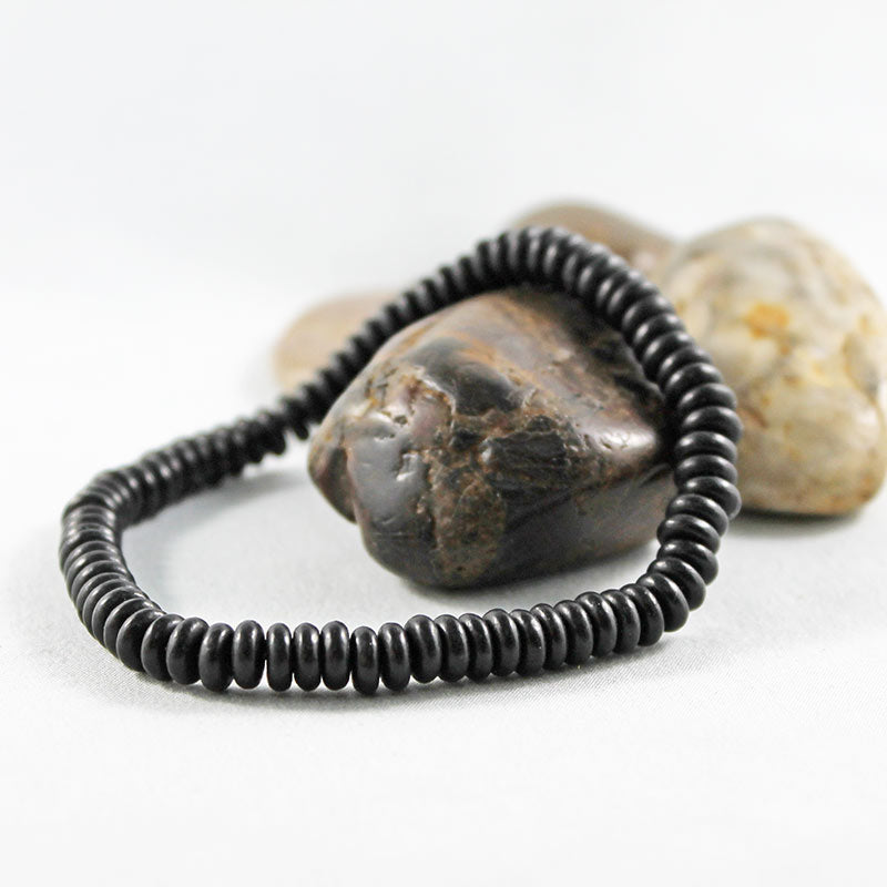 Black Disc Bead Stretch Bracelet