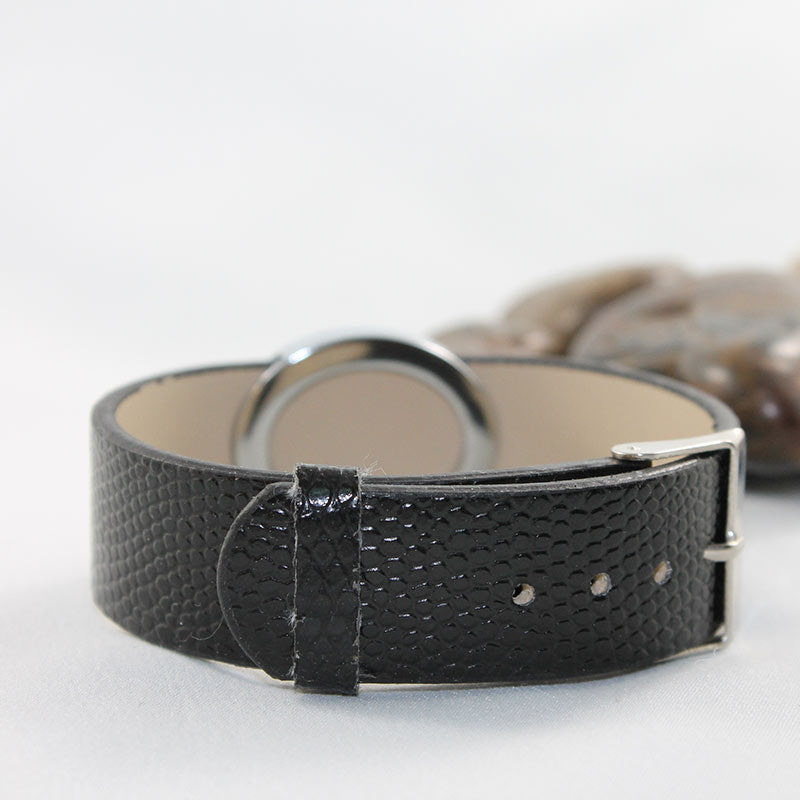 Black Faux Leather Bracelet Oval
