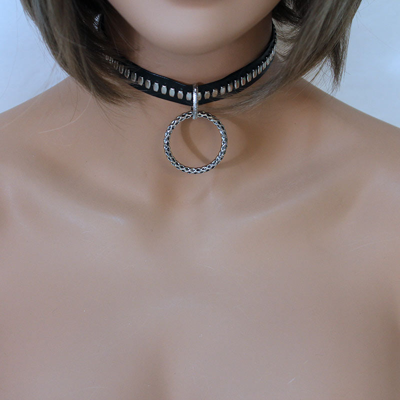 Black Faux Leather Choker with Large Narrow Round Pendant