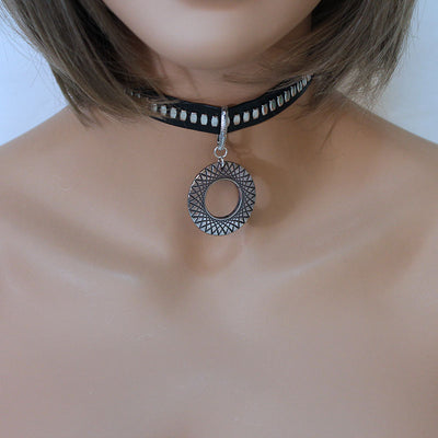 Black Faux Leather Choker with Large Wide Round Pendant