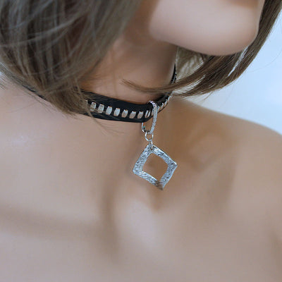 Black Faux Leather Choker with Square Pendant