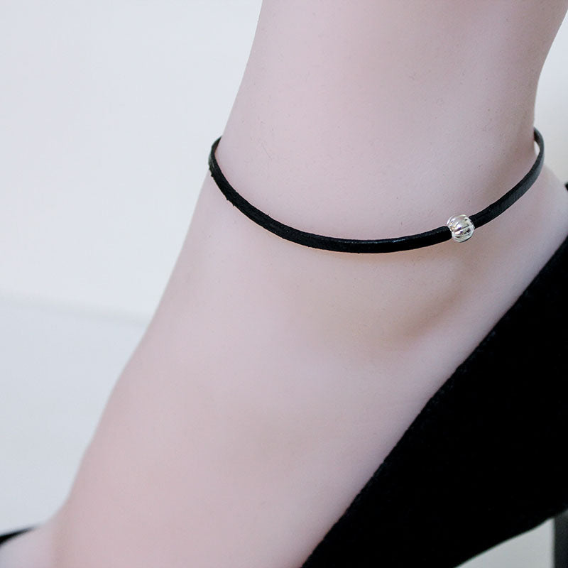 Black Leather Anklet