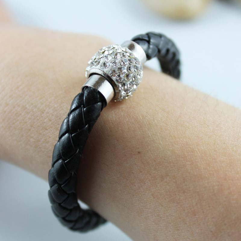 Black Braided Leather Bangle Bracelet