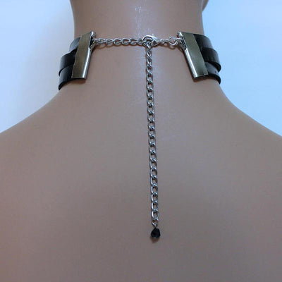 Leather Choker with Skull Pendant