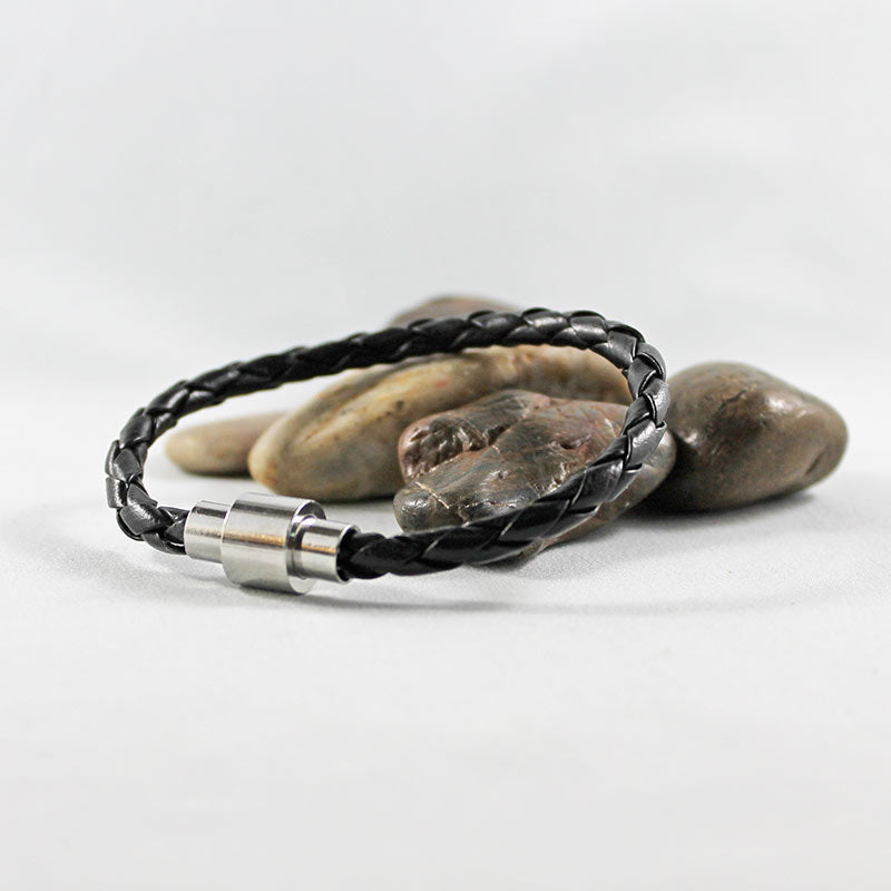 Black Leather Silver Magnetic Clasp Bracelet
