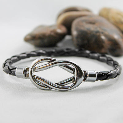 Black Leather Silver Magnetic Knot Bracelet