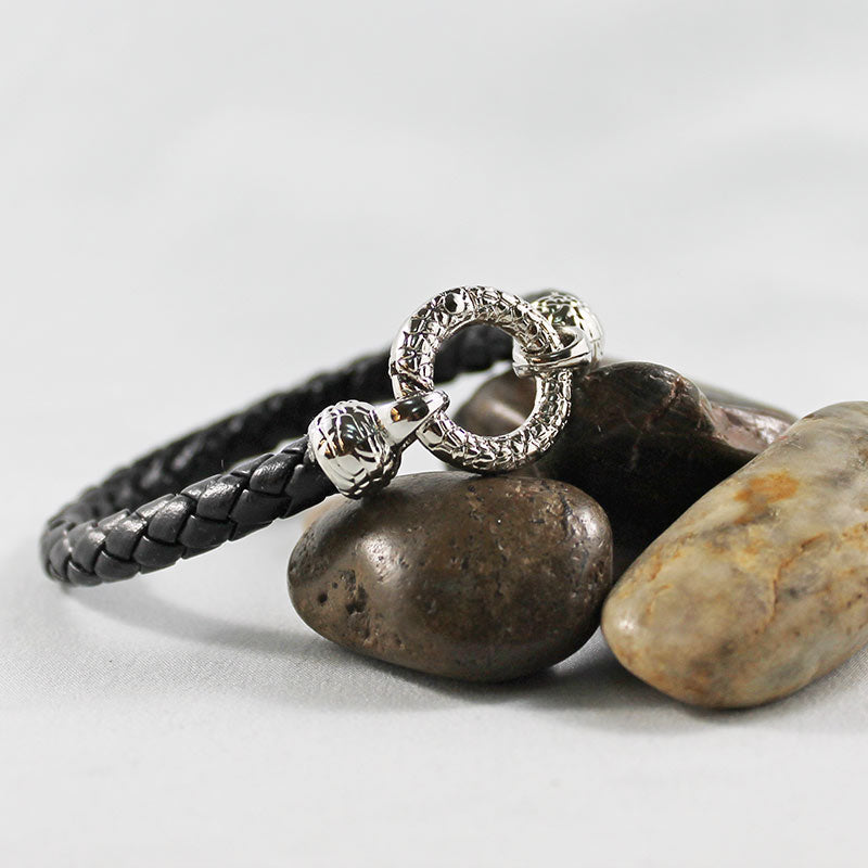 Black Leather Silver Ring Bracelet