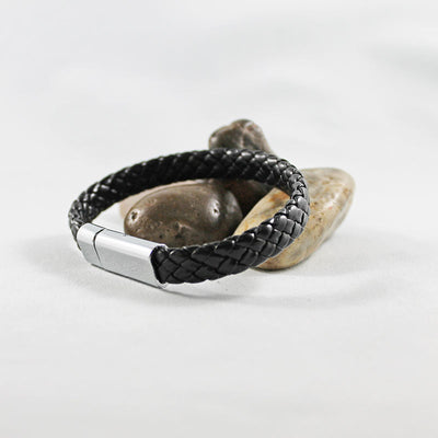 Black Leather Stainless Steel Magnetic Clasp Bracelet