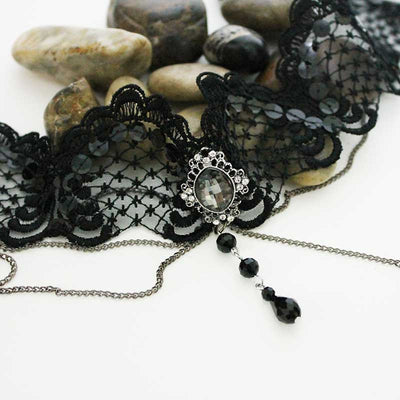 Gothic Victorian Black Lace Choker