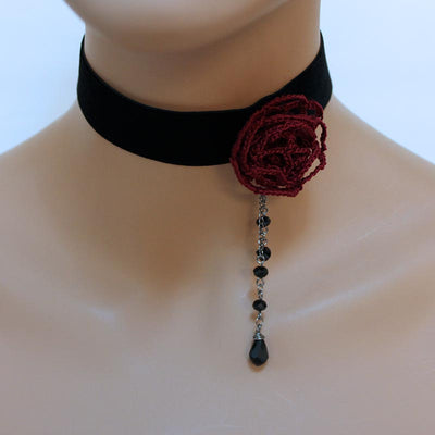Red Rose Victorian Choker Necklace