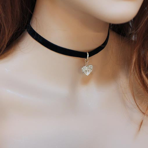 Black Velvet Gold Heart Choker