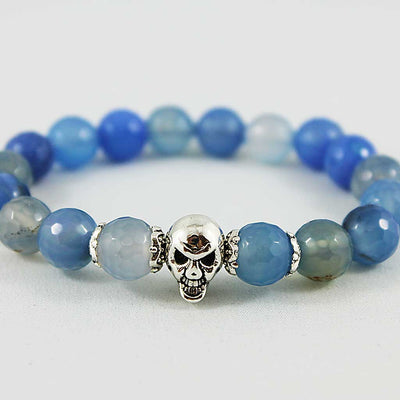 Silver Skull Blue Gemstone Stretch Bracelet