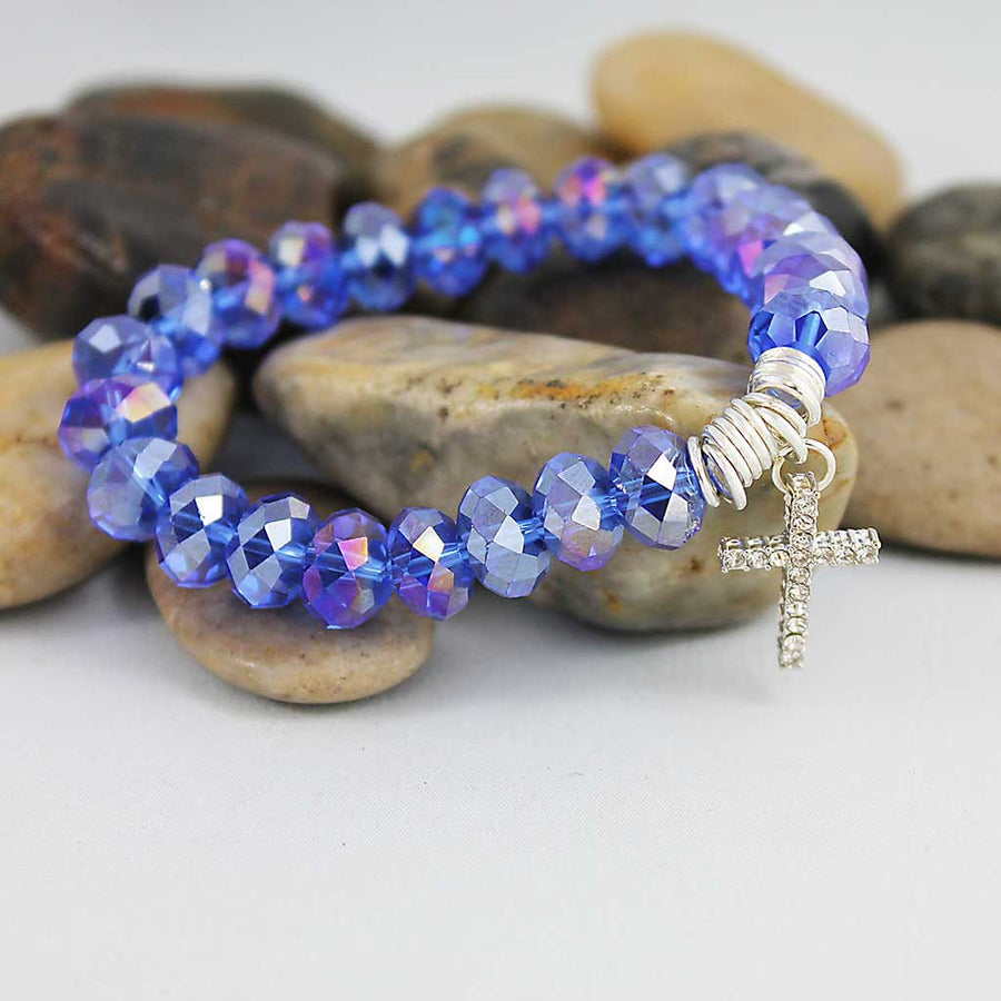 Blue Purple Crystal Cross Bracelet