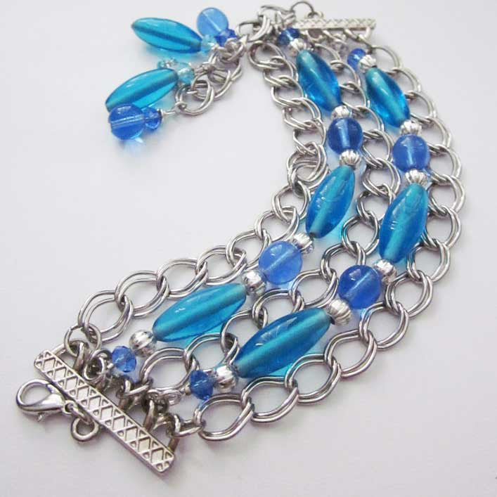 Blue Beaded Multi Strand Chain Bracelet