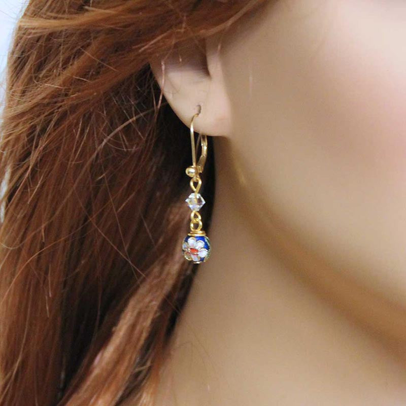 Blue Cloisenne Dangle Earrings