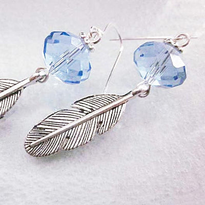 Blue Crystal Leaf Earrings