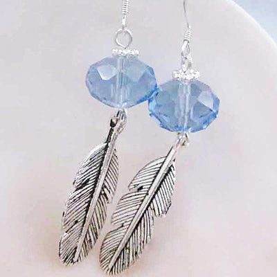 Blue Crystal Silver Leaf Earrings