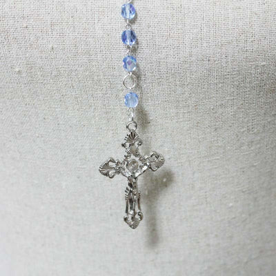 Silver Cross Rosary Necklace