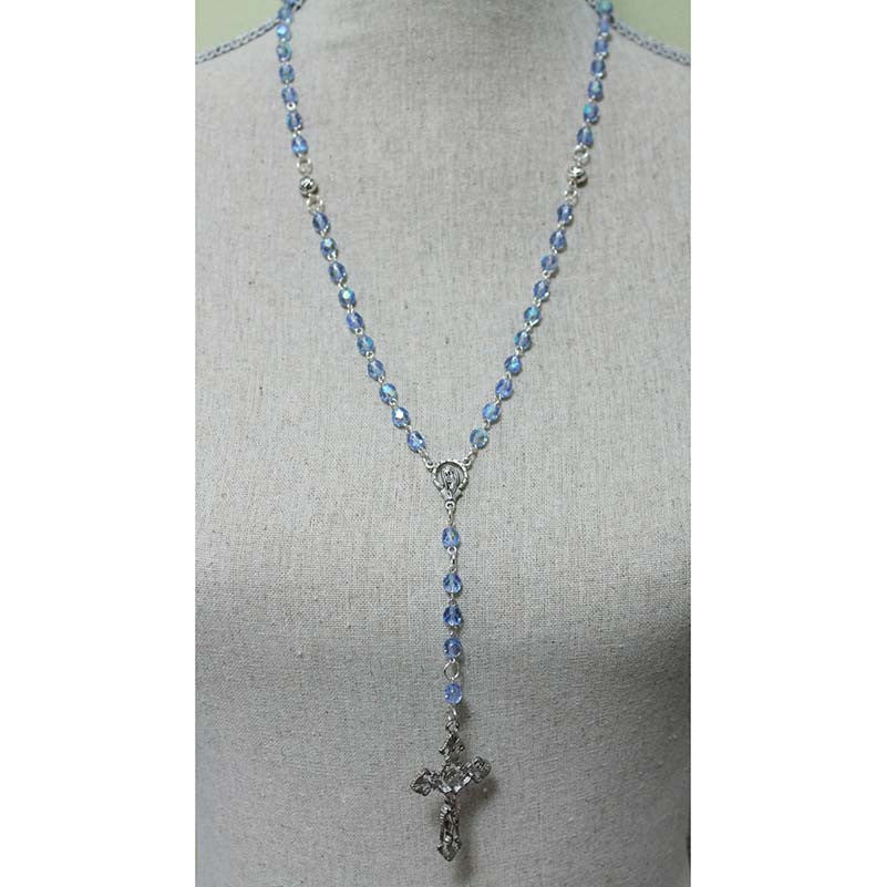Blue Crystal Silver Cross Rosary Necklace