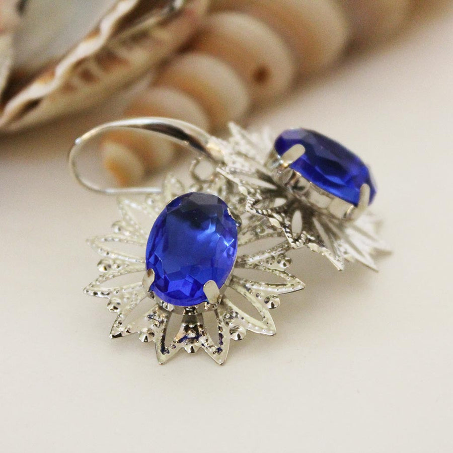Blue Crystal Silver Filigree Dangle Earrings