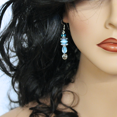 Blue Beaded Drop Earrings