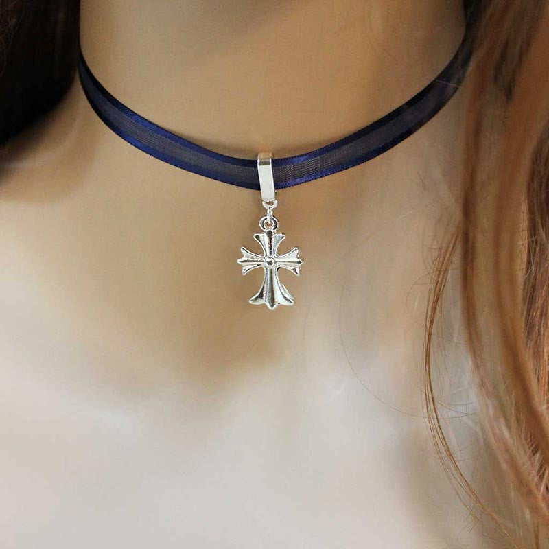 Silver Celtic Cross Blue Ribbon Choker Necklace