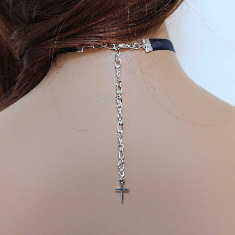 Blue Ribbon Silver Cross Choker Necklace