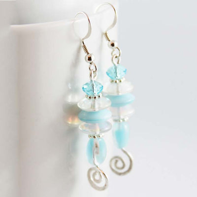 Wire Wrapped Blue Earrings