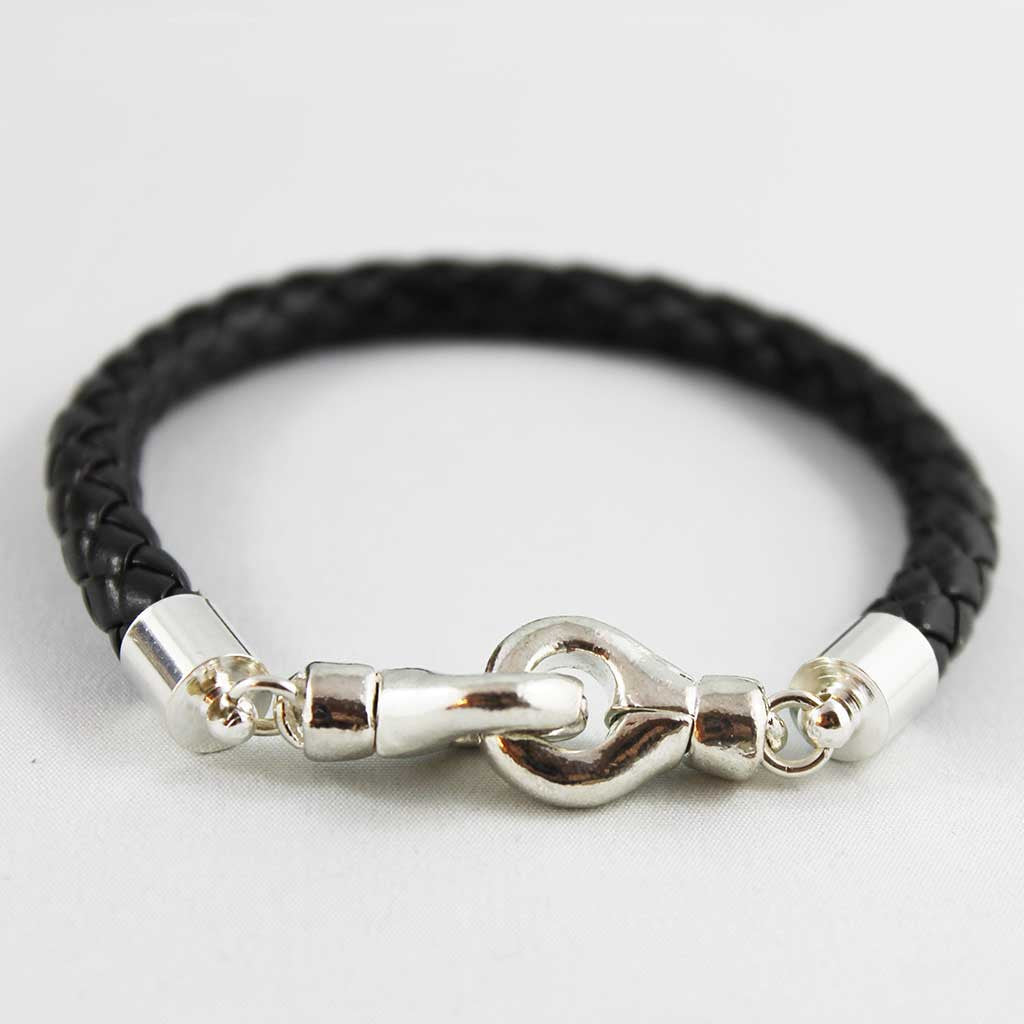 Black Braided Leather Bracelet