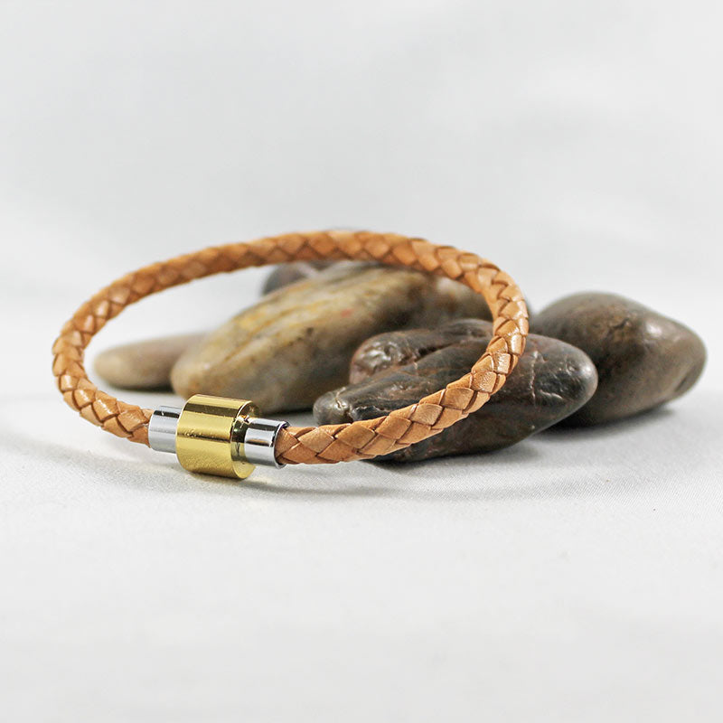 Braided Tan Leather Gold & Silver Clasp Bracelet