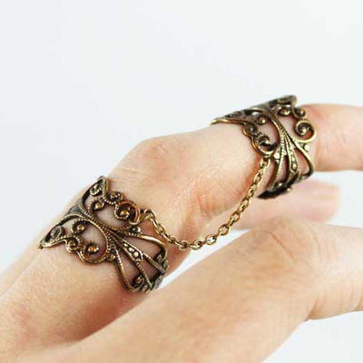 Filigree Double Ring Brass