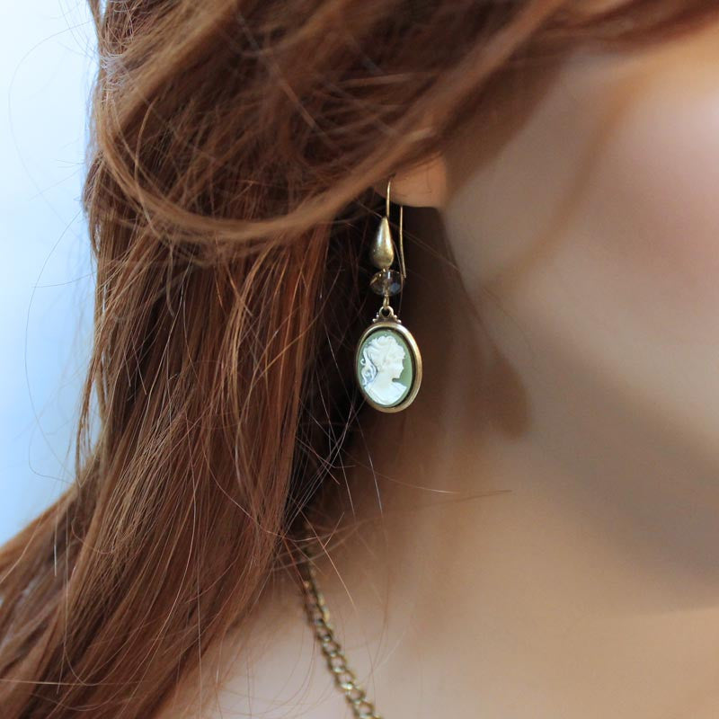 Green Cameo Victorian Drop Earrings