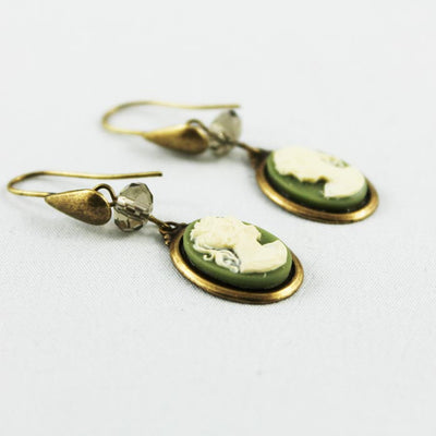 Green Cameo Brass Earrings