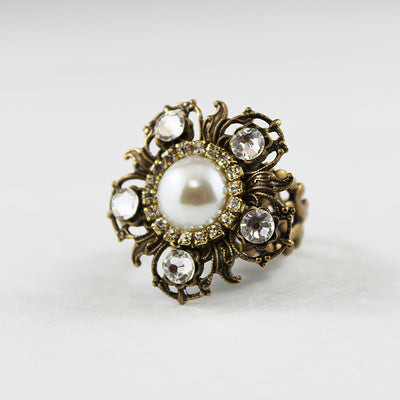 Pearl Flower Statement Ring