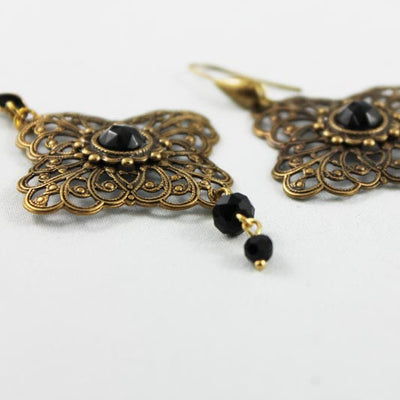 Brass Victorian Style Earrings