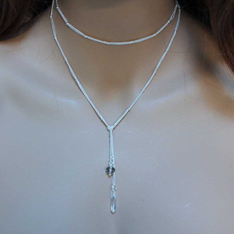 Dainty Silver Lariat Crystal Bead Wrap Necklace