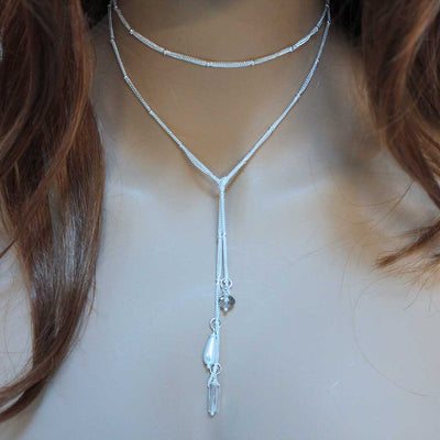 Dainty Crystal Pearl Bead Wrap Silver Lariat Necklace