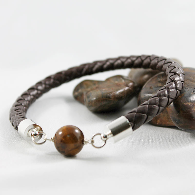 Braided Brown Leather Bangle with Tiger Eye Bead