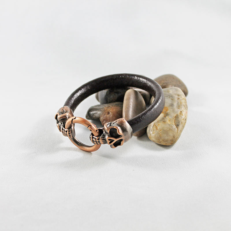 Brown Leather Copper Skull Bracelet