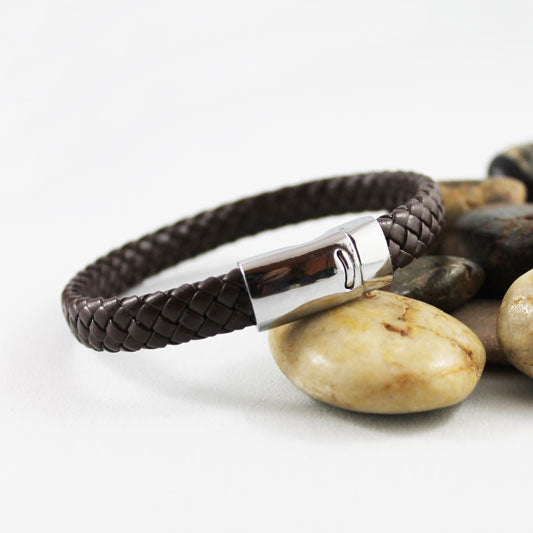Brown Braided Leather Bracelet, Unisex Couple's Bracelet