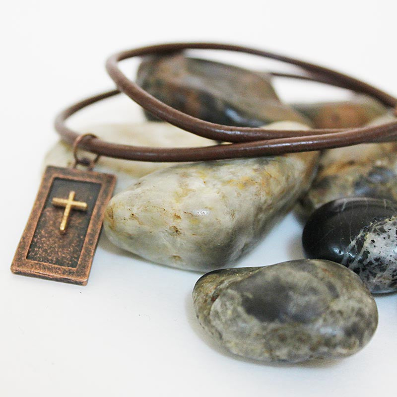Handmade Men's Brown Leather Necklace Cross Pendant
