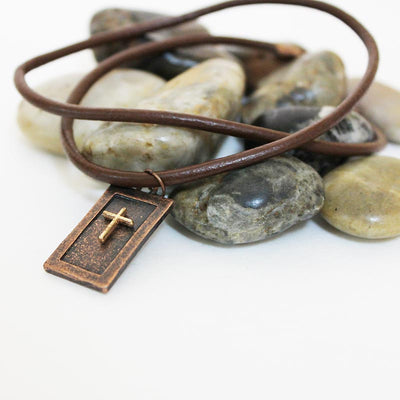 brown leather men's choker
