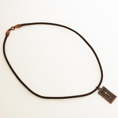 men's brown leather choker