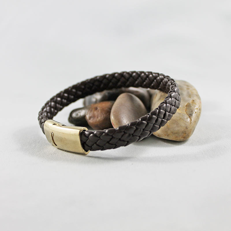 Brown Leather Gold Clasp Men's Bracelet