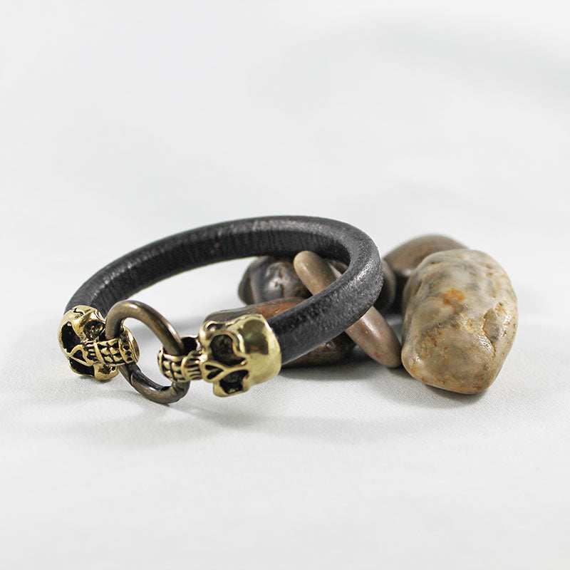 Brown Leather Gold Skull Bracelet