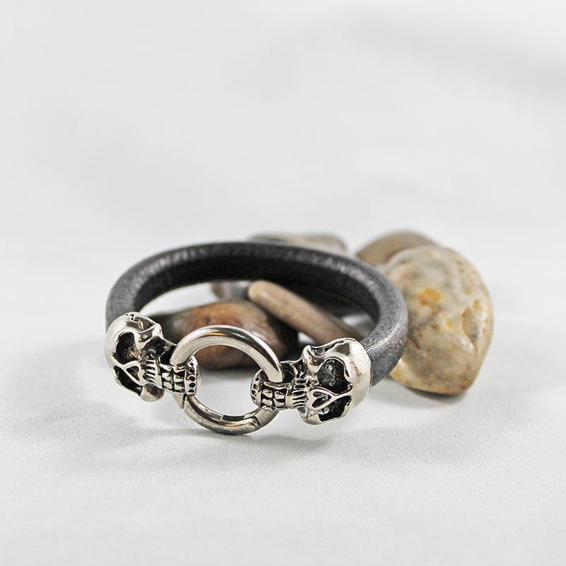 Brown Leather Silver Skull Bracelet