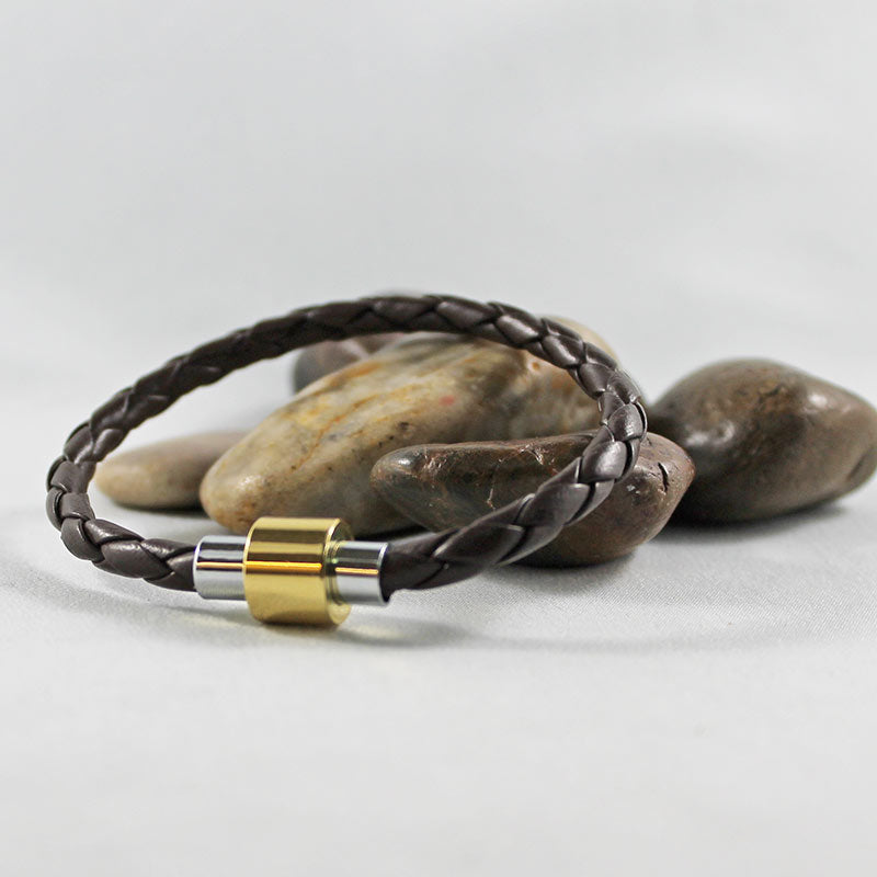 Brown Leather Silver & Gold Magnetic Clasp Bracelet