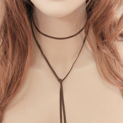 Brown Suede Boho Lariat