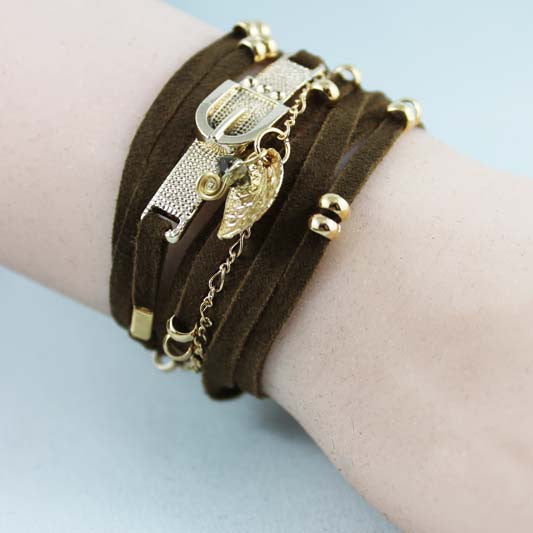 Brown Suede Gold Beaded Wrap Boho Bracelet