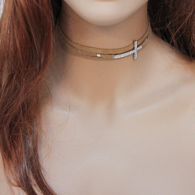 Brown Suede. Rhinestone Sideways Cross Choker